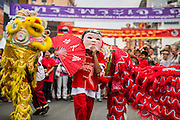 """10 FEBRUARY 2013 - BANGKOK, THAILAND: A Laughing Buddha and Lion Dancers perform on Yaowarat Road on Chinese New Year in Bangkok. Bangkok has a large Chinese emigrant population, most of whom settled in Thailand in the 18th and 19th centuries. Chinese, or Lunar, New Year is celebrated with fireworks and parades in Chinese communities throughout Thailand. The coming year will be the """"Year of the Snake"""" in the Chinese zodiac.    PHOTO BY JACK KURTZ"""