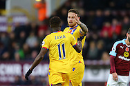 Connor Wickham of Crystal Palace (r) celebrates after scoring his teams 1st goal. Premier League match, Burnley v Crystal Palace at Turf Moor in Burnley , Lancs on Saturday 5th November 2016.<br /> pic by Chris Stading, Andrew Orchard sports photography.