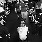 Abner, back right, works on his conditioning with a host of other fighters at the Maywood Boxing Club.