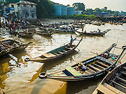 27 OCTOBER 2015 - YANGON, MYANMAR: Cross river ferries at Aungmingalar Jetty in Yangon. The jetty is one of the numerous crossing points that bring people from the suburbs on the other side of the river into Yangon.    PHOTO BY JACK KURTZ