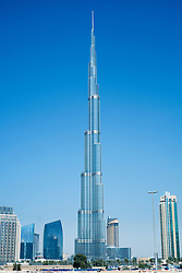 View of new skyline of Dubai with Burj Khalifa tower in United Arab Emirates UAE Middle East