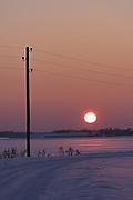 Sunset over snowy farmlands and lone electric pole by road, near Lancenieki, Kurzeme, Latvia Ⓒ Davis Ulands | davisulands.com