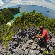 Wide angle view around a lagoon in Misool area, West-Papua.