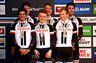 Podium 2nd place, Michael Matthews (AUS - Team Sunweb) - Sam Oomen (NED - Team Sunweb) - Soren Kragh Andersen (DEN - Team Sunweb) - Tom Dumoulin (NED - Team Sunweb) - Wilco Kelderman (NED - Team Sunweb) - Chad Haga (USA - Team Sunweb) during the 2018 UCI Road World Championships, Men's Team Time Trial cycling race on September 23, 2018 in Innsbruck, Austria - Photo Luca Bettini / BettiniPhoto / ProSportsImages / DPPI