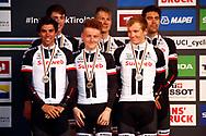 Podium 2nd place, Michael Matthews (AUS - Team Sunweb) - Sam Oomen (NED - Team Sunweb) - Soren Kragh Andersen (DEN - Team Sunweb) - Tom Dumoulin (NED - Team Sunweb) - Wilco Kelderman (NED - Team Sunweb) - Chad Haga (USA - Team Sunweb) during the 2018 UCI Road World Championships, Men's Team Time Trial cycling race on September 23, 2018 in Innsbruck, Austria - Photo Luca Bettini / BettiniPhoto / ProSportsImages / DPPI