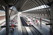 Train at platform inside Santa Justa railway station Seville, Spain