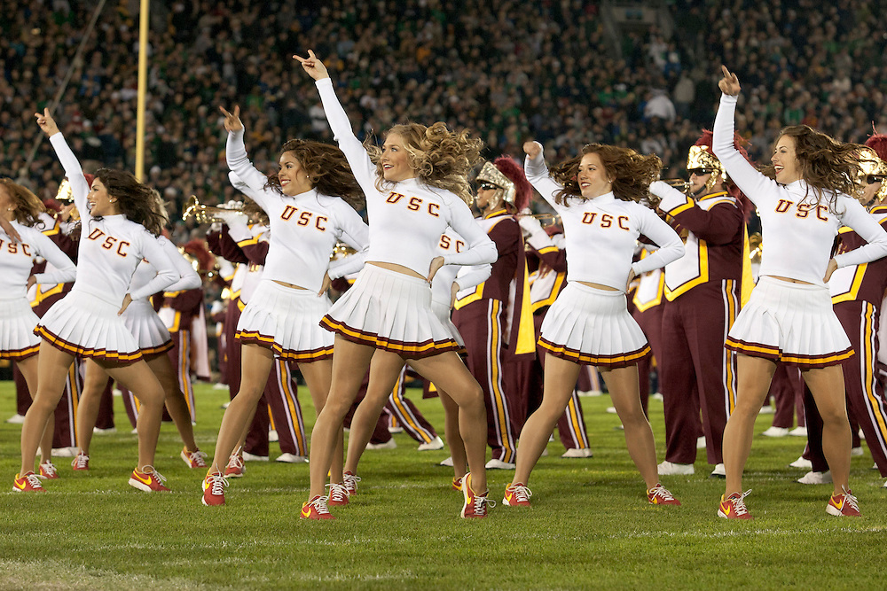 USC Song Girls perform during halftime of NCAA football game between Notre Dame and USC.  The USC Trojans defeated the Notre Dame Fighting Irish 31-17 in game at Notre Dame Stadium in South Bend, Indiana.