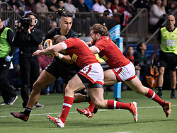 VANCOUVER, Nov. 4, 2017  Maori All Blacks' Sean Wainui (L, front) competes with team Canada's Ben Lesage (C, front) and Dan Moor during an exhibition game in Vancouver, Canada, on Nov. 3, 2017. Maori All Blacks won 51-9. (Credit Image: © Andrew Soong/Xinhua via ZUMA Wire)