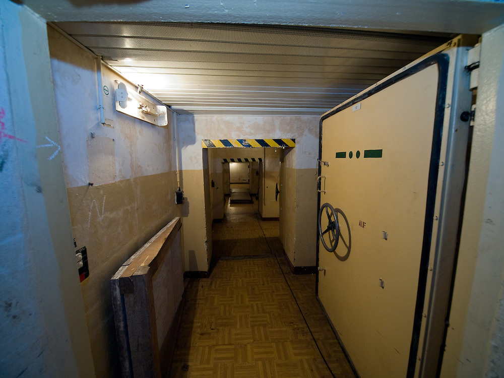 Corridors with a few tons heavy doors out of steel inside the Honecker Bunker in Prenden.