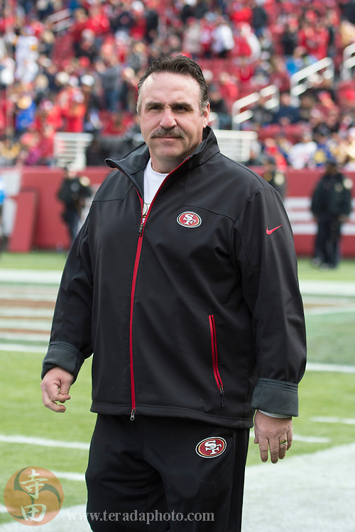 January 3, 2016; Santa Clara, CA, USA; San Francisco 49ers head coach Jim Tomsula walks the sideline against the St. Louis Rams at Levi's Stadium.