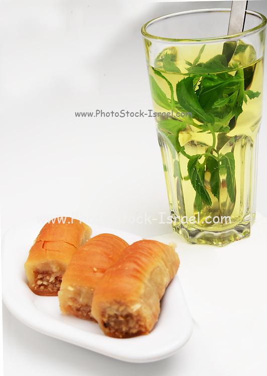 Mint tea and baklava Mideastern dessert