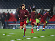 Jordan Henderson of Liverpool warms up during the Champions League group stage match between Paris Saint-Germain and Liverpool at Parc des Princes, Paris, France on 28 November 2018.