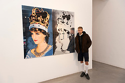 "© Licensed to London News Pictures. 06/06/2019. London, UK. 22 year old artist, model and skateboarder Blondey with his artwork featuring the late Princess Diana titled ""Queen Di. II. 2019. The work is showing at The Ronchini Gallery. Photo credit: Ray Tang/LNP"