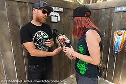 Gas tank art display at Born Free-7 at Oak Canyon Ranch. Silverado, CA. USA. Sunday, June 28, 2015.  Photography ©2015 Michael Lichter.