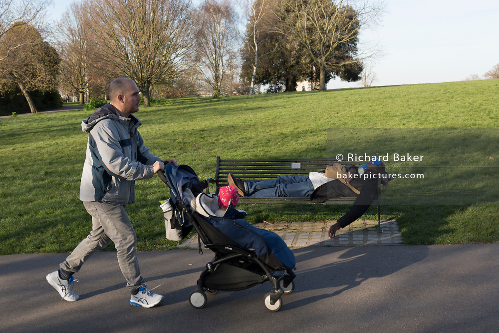 The day after UK Prime Minister Boris Johnson imposed unprecedented restrictions of movement for millions of Britons who were told to stay at home unless their key jobs or journeys were essential. Told to take a single exercise session per day, south Londoners use their local green space for daily activities in Brockwell Park in Herne Hill SE24, on 24th March 2020.