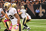 "New Orleans Saints QB Drew Brees drops back to throw a pass during the game against the Caoliina Panthers. 3,2010 prior to the Saints game against the Carolina Panthers. The NFL has gone ""Pink"" for October in honor of Breast Cancer Awareness. The Saints went on to win 16-14. John Carney kicked three field goals to help the Saints win. PHOTO©SuziAltman.com"