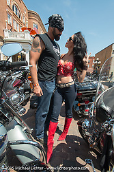 Dawn Pollard with her husband and retired NBA player Scott Pollard (the two make 13' of fun!) on the Annual Legends Ride at 75th Annual in Deadwood, as part of the Sturgis Black Hills Motorcycle Rally.  SD, USA.  August 3, 2015.  Photography ©2015 Michael Lichter.