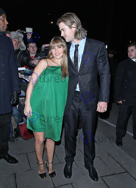 LONDON - FEBRUARY 11: Elsa Pataky; Chris Hemsworth attend the Charles Finch & CHANEL Pre-BAFTA Dinner at Annabels, London, UK on February 11, 2012. (Photo by Richard Goldschmidt)