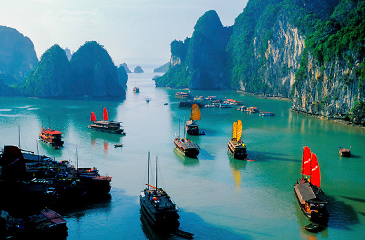 Tourist Sailing Junks Are Moored in Ha Long Bay, a UNESCO World Heritage Site<br /> in Vietnam