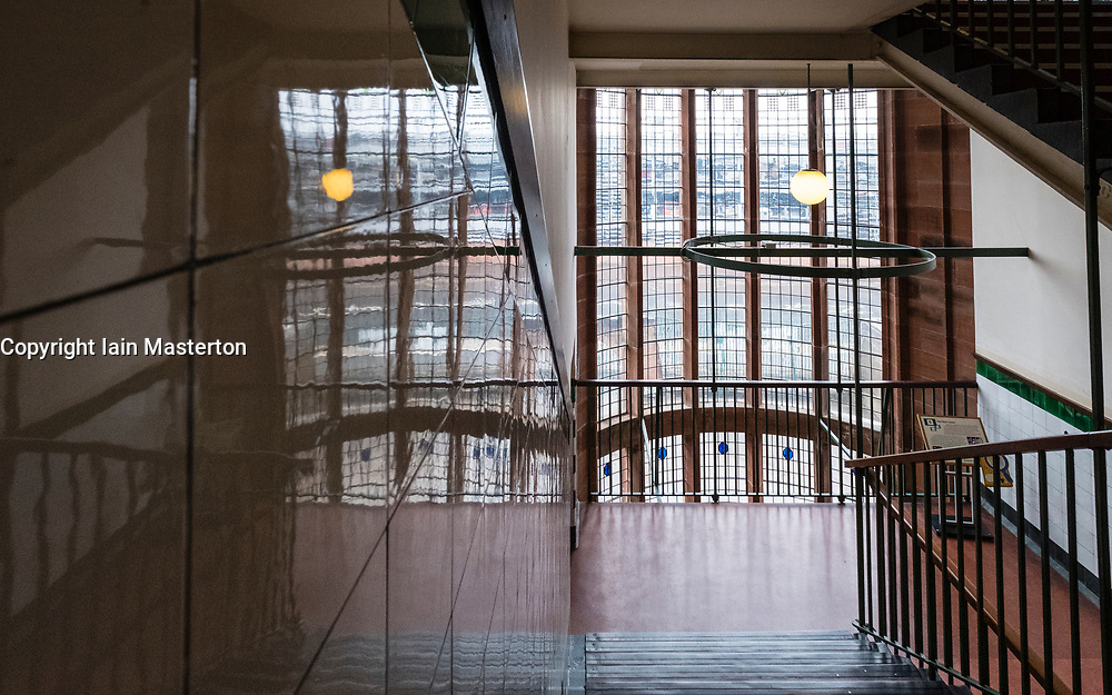 Stairway reflections inside Scotland Street School , designed by Charles Rennie Mackintosh, in Glasgow, Scotland, United Kingdom