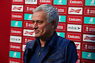 Tottenham Hotspur Manager Jose Mourinho during the The FA Cup match between Marine and Tottenham Hotspur at Marine Travel Arena, Great Crosby, United Kingdom on 10 January 2021.