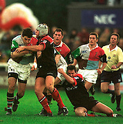 Twickenham  Surrey, The Stoop. Harlequins vs Saracens,<br /> <br /> <br /> Quin's. Nick Greenwood supported by Will Greenwood and Rory Jenkins tries to break though the Saracens defence<br /> [Mandatory Credit: Peter SPURRIER; Intersport Images]