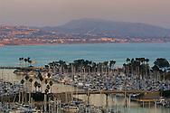Overlooking Dana Point Harbor at dusk, Dana Point, Orange County, California