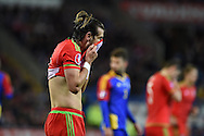 Gareth Bale of Wales reacts after missing a chance to score in the 1st half. Wales v Andorra, Euro 2016 qualifying match at the Cardiff city stadium  in Cardiff, South Wales  on Tuesday 13th October 2015. <br /> pic by  Andrew Orchard, Andrew Orchard sports photography.