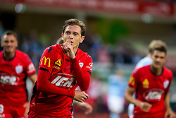 February 9, 2019 - Melbourne, VIC, U.S. - MELBOURNE, AUSTRALIA - February 09 : Craig Goodwin of Adelaide United  celebrates scoring a goal during round 18 of the Hyundai A-League Series between Melbourne City and Adelaide United on February 9 2019, at AAMI Park in Melbourne, Australia. (Photo by Jason Heidrich/Icon Sportswire) (Credit Image: © Jason Heidrich/Icon SMI via ZUMA Press)