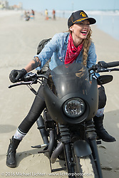 """Leticia Cline of the """"Iron Lillies"""" on Daytona Beach during Daytona Bike Week 75th Anniversary event. FL, USA. Thursday March 3, 2016.  Photography ©2016 Michael Lichter."""
