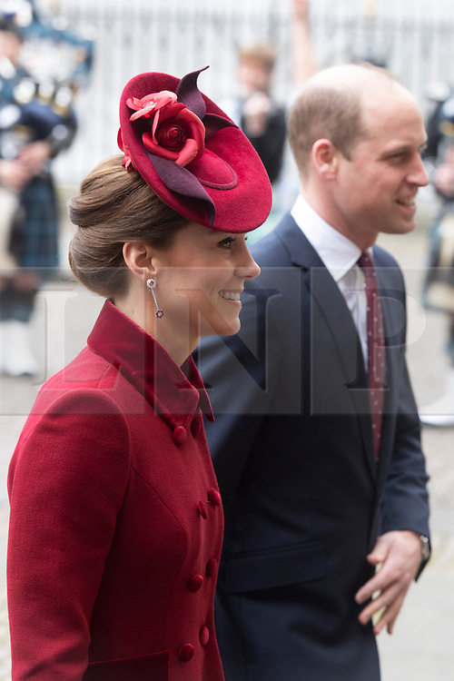 © Licensed to London News Pictures. The  Duchess of Cambridge and the Duke of Cambridge attend the Commonwealth Service at Westminster Abbey. Photo credit: Ray Tang/LNP