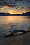 Driftwood and clouds at sunrise over calm water and sandy shoreline, Kiva Beach, South Shore of Lake Tahoe, California