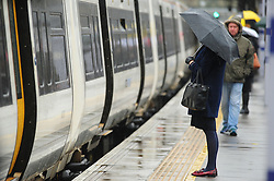 © Licensed to London News Pictures. 09/11/2016<br /> Wet weather for London commuters at Pettswood train station Pettswood,Kent this morning.