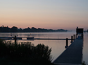 Hamburg. GERMANY. General view of the aligners hut as the Sun rises over the regatta course at the 2014 FISA Junior World rowing. Championships.  05:54:55  Wednesday  06/08/2014  [Mandatory Credit; Peter Spurrier/Intersport-images] © Peter SPURRIER, Atmospheric, Rowing