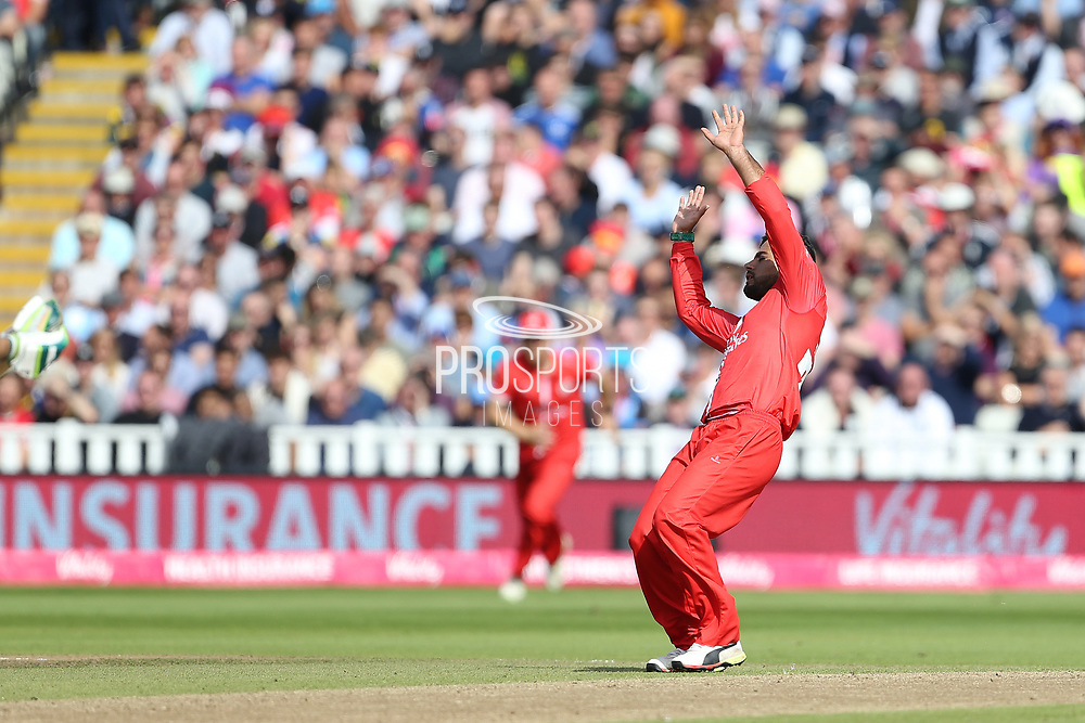 Lancashires Zahir Khan during the Vitality T20 Finals Day semi final 2018 match between Worcestershire Rapids and Lancashire Lightning at Edgbaston, Birmingham, United Kingdom on 15 September 2018.