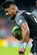 Jordan Taufua of the BNZ Crusaders puts his head down for the try line during the Canterbury Crusaders v the Western Force Super Rugby Match. Nib Stadium, Perth, Western Australia, 8th April 2016. Copyright Image: Daniel Carson / www.photosport.nz
