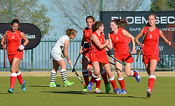 St Mary's celebrating during day one of the FNB Private Wealth Super 12 Hockey Tournament held at Oranje Meisieskool in Bloemfontein, South Africa on the 6th August 2016<br /> <br /> Photo by:   Frikkie Kapp / Real Time Images