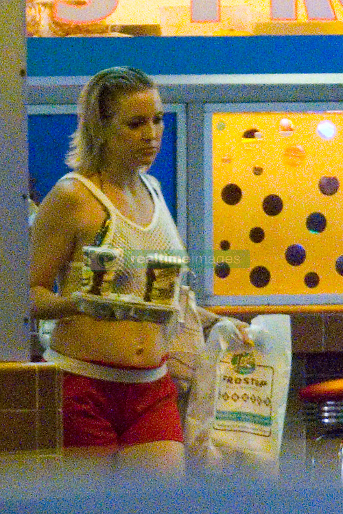 """EXCLUSIVE: Kate Hudson was spotted wearing red athletic shorts, a shiny bikini top covered by a white fishnet tank top as she continues filming night scenes for her new movie """"Mona Lisa and the Blood Moon"""". In the scene she the actress orders burgers and drinks at a diner and flirts with a gentleman sitting at a table eating. Mona Lisa and the Blood Moon is a fantasy-adventure that follows a girl with unusual and dangerous powers who breaks out of a mental asylum and tries to get a hold of her abilities and make it on her own in New Orleans. 08 Jul 2019 Pictured: Kate Hudson. Photo credit: MEGA TheMegaAgency.com +1 888 505 6342"""