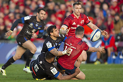 December 9, 2018 - Limerick, Ireland - Sammy Arnold of Munster delivers the ball to Rory Scannell during the Heineken Champions Cup Round 3 match between Munster Rugby and Castres Qlympique at Thomond Park Stadium in Limerick, Ireland on December 9, 2018  (Credit Image: © Andrew Surma/NurPhoto via ZUMA Press)
