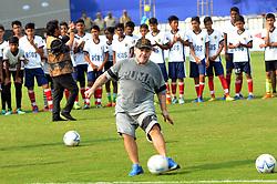 December 12, 2017 - Kolkata, West Bengal, India - Argentina's soccer legend Diego Maradona kicks a football, gestures during a football workshop with school students in Barasat, around 38 Km north of Kolkata on December 12, 2017. Maradona is on a private visit to India. (Credit Image: © Debajyoti Chakraborty/NurPhoto via ZUMA Press)