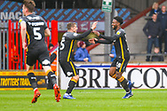 Jermaine Anderson of Bradford City (18) scores a goal and celebrates to make the score 0-2 during the EFL Sky Bet League 1 match between Scunthorpe United and Bradford City at Glanford Park, Scunthorpe, England on 27 April 2019.