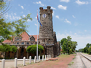 SHAWNEE, Oklahoma - June 25, 2018 - This unique railroad depot made of limestone blocks two to three-feet deep in Shawnee, Oklahoma, is the Santa Fe Railroad Depot that was built in 1902. No longer operating as a depot, it is now  railroad and historical museum. Picture: Ryan Eyer/Allied Picture Press/APP