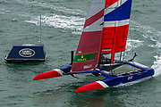 SailGP Team GBR helmed by Dylan Fletcher wins race one of practice. Event 4 Season 1 SailGP event in Cowes, Isle of Wight, England, United Kingdom. 8 August 2019: Photo Chris Cameron for SailGP. Handout image supplied by SailGP