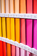 Color paper sheets are displayed at Antalis' Brainstore in Boulogne, near Paris, on February 25, 2013. Photo by Lucas Schifres/Pictobank