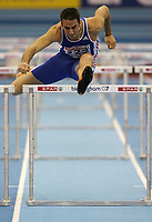 Photo: Rich Eaton.<br /> <br /> EAA European Athletics Indoor Championships, Birmingham 2007. 04/03/2007. Romain Barras of France competes in the heptathlon 60m hurdles