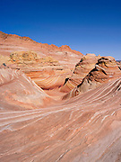 """Scene from the North Coyote Buttes area known as """"The Wave,"""" Vermillion Cliffs National Monument, Arizona, known for its beautiful rock formations."""