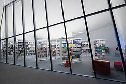 Library at Academy of the Jewish Museum Berlin in the new Eric F. Ross building in Berlin Germany; architect Daniel Libeskind