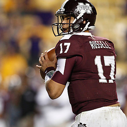November 10, 2012; Baton Rouge, LA, USA; Mississippi State Bulldogs quarterback Tyler Russell (17)  during the second half of a game against the LSU Tigers at Tiger Stadium.  LSU defeated Mississippi State 37-17. Mandatory Credit: Derick E. Hingle-US PRESSWIRE