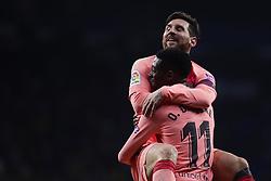 December 8, 2018 - Barcelona, Catalonia, Spain - December 8, 2018 - Cornella- El Prat, Barcelona, Spain - LaLiga Santander- RCD Espanyol v FC Barcelona; Lionel Messi of FC Barcelona  celebrates scoring the opening goal. (Credit Image: © Marc Dominguez/ZUMA Wire)