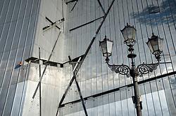 Detail of ornate lighting column and metallic walls of The Jewish Museum in Kreuzberg Germany
